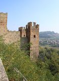 Castell `Arquato. Photo of fortification of the town, Italy royalty free stock photo