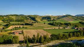 Castell'Arquato vineyards panorama Royalty Free Stock Image
