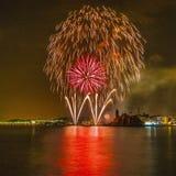 Castell de Foc dentro de las celebraciones importantes de Festa Foto de archivo libre de regalías