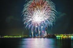 Castell de Foc firework display within the Festa Major celebrati Royalty Free Stock Images