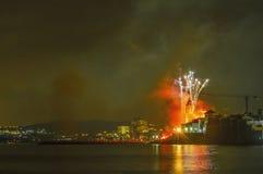 Castell de Foc firework display within the Festa Major celebrati Stock Photos