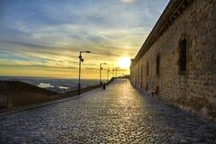 Castell De Montjuic, Barcelona, Catalunya, Hiszpania Castell De montJuic przy wierzchołkiem Montjuic przeciw zmierzchowi obraz royalty free