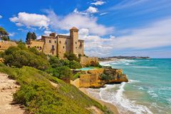 Castell de Tamarit near Tarragona, Costa Dorada. Catalonia in Spain royalty free stock images