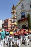 Castell eller mänskligt torn, typisk tradition i Catalonia Arkivbild