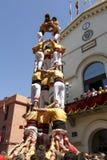 Castell eller mänskligt torn, typisk tradition i Catalonia Royaltyfri Fotografi