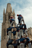 The castell, a human tower, on the square in Girona. Royalty Free Stock Photo