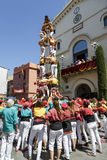 Castell or Human Tower, typical tradition in Catalonia Stock Photography