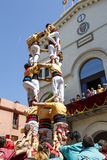Castell or Human Tower, typical tradition in Catalonia Royalty Free Stock Images