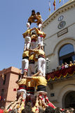 Castell or Human Tower, typical tradition in Catalonia Royalty Free Stock Photography