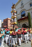 Castell o torre humana, tradición típica en Cataluña Foto de archivo libre de regalías
