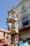 Castell o torre umana, tradizione tipica in Catalogna Immagini Stock Libere da Diritti