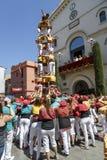 Castell oder menschlicher Turm, typische Tradition in Katalonien Lizenzfreies Stockfoto