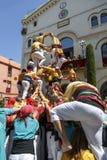 Castell ou tour humaine, tradition typique en Catalogne Photos stock