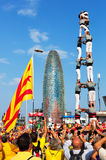 Castell show in  National Day of Catalonia Stock Photography