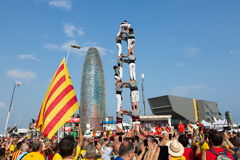 Castell show in National Day of Catalonia Stock Image