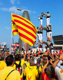 Castell show in The National Day of Catalonia Stock Photos