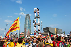 Castell toont in de Nationale Dag van Catalonië Stock Foto