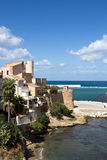 Castellammare del Golfo - Panoramic view on the medieval Castle, Sicily Royalty Free Stock Images