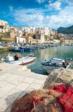 Castellammare Del Golfo, town & marina. Fishing nets on the pier of the fishing port and town of Castellammare del Golfo, Sicily, Italy Stock Photo