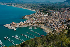 Castellammare Del Golfo, town & marina. WS from high: The town and marina of Castellammare del Golfo, Sicily, Italy Royalty Free Stock Images