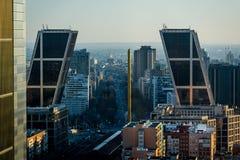 Castellana και ορίζοντας της Μαδρίτης άνωθεν Στοκ Εικόνες