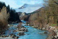 Verdon river ,Castellane on the route Napoléon. Castellane is located about 80 kilometers northwest of Cannes in the mountains of the High Provence on the stock photography