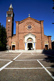 In  the castellanza  primo  old   church  closed brick tower sid Royalty Free Stock Photo