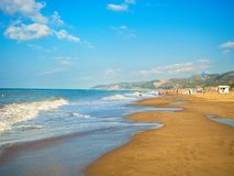 Castelldefels beach in Barcelona one summer morning stock photos