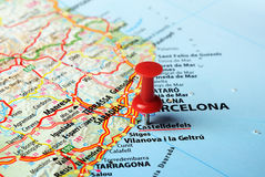 Castelldefels  ,Spain map. Close up of Castelldefels  ,Spain map and red pin - Travel concept Stock Images