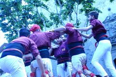 Casteller,s human tower from Catalonia, Spain. Castellers, human tower from Catalonia, Cardedeu may 7 2017 Royalty Free Stock Photography