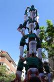 Castellers, человеческая башня от Каталонии, Испании Стоковое Фото