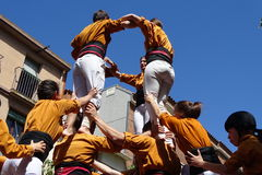 Castellers, человеческая башня от Каталонии, Испании Стоковое фото RF