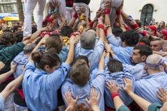 Castellers armar som stöttar tornet Fotografering för Bildbyråer