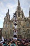 Castellers a Barcellona, Spagna Fotografie Stock Libere da Diritti