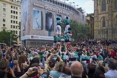 Castellers a Barcellona, Spagna Immagine Stock