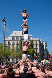 Castellers in Barcelona, Spain Stock Images