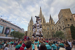 Castellers in Barcelona, Spain Stock Photo