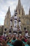 Castellers in Barcelona, Spanien Stockfotografie