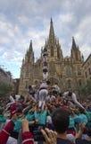 Castellers in Barcelona, Spanien Stockbild