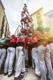 Castellers Barcelona, Spanien mänsklig pyramid Royaltyfria Bilder