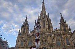 Castellers in Barcelona, Spanje Stock Foto's