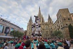 Castellers in Barcelona, Spanje Stock Foto