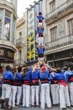 Castellers dans l'arrop Badalona de fira Image libre de droits