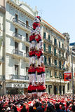 Castellers de Βαρκελώνη που εκτελεί Castel Στοκ Εικόνες