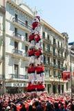 Castellers de Barcelona wykonuje Castel Obrazy Stock