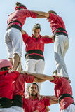 Castellers do a Castell or Human Tower, typical  in Catalonia. Royalty Free Stock Image