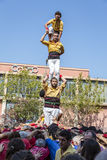 Castellers do a Castell or Human Tower, typical  in Catalonia. Stock Images
