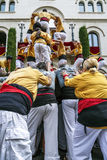 Castellers in fira arrop Badalona Stockfotos