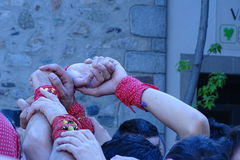 Castellers, human tower from Catalonia, Spain. Castellers, human tower from Catalonia, Cardedeu may 7 2017 Royalty Free Stock Photo