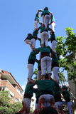 Castellers, human tower from Catalonia, Spain. Castellers, human tower from Catalonia, Cardedeu may 7 2017 Stock Photo